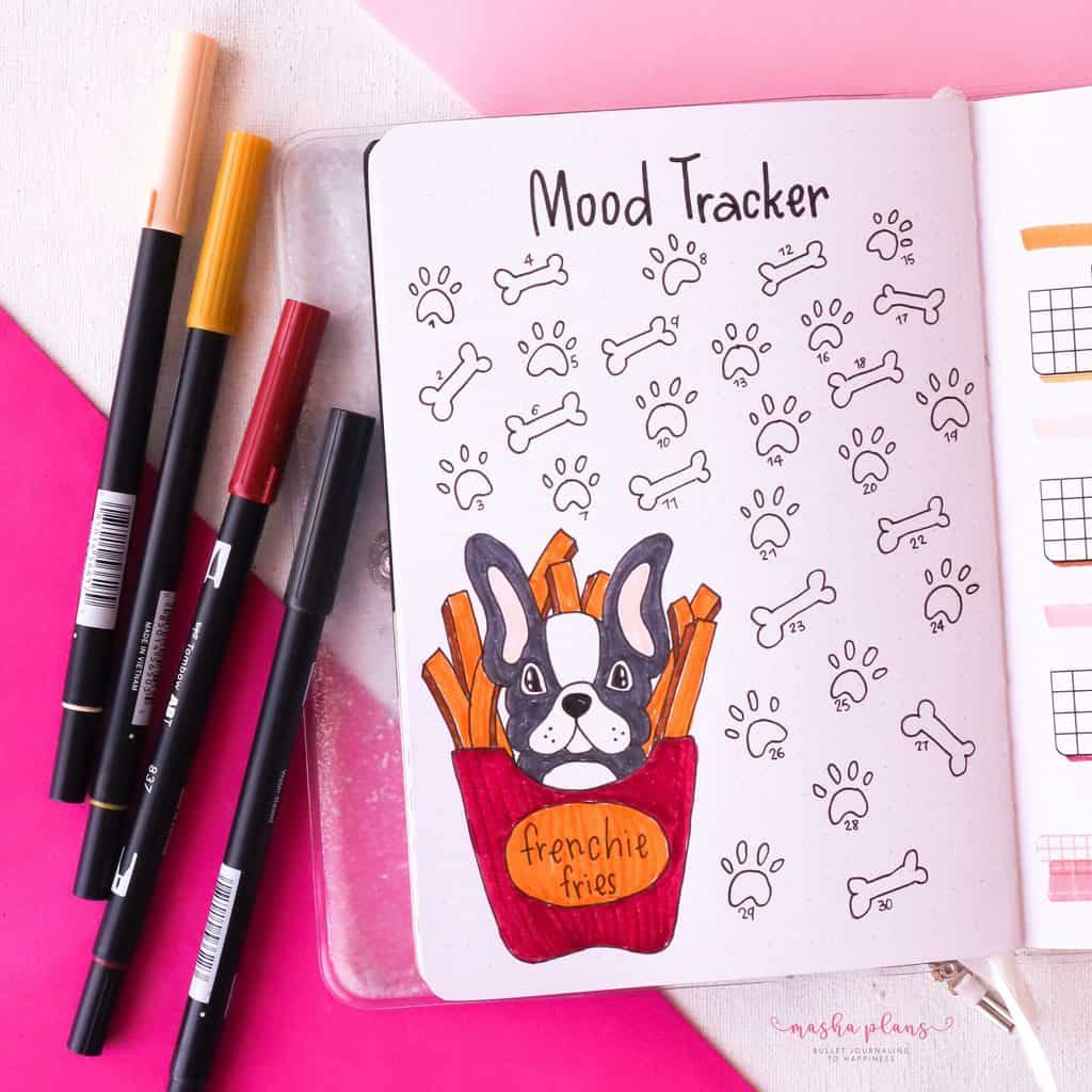 Puppie Bullet Journal Setup, April Plan With Me, mood tracker | Masha Plans