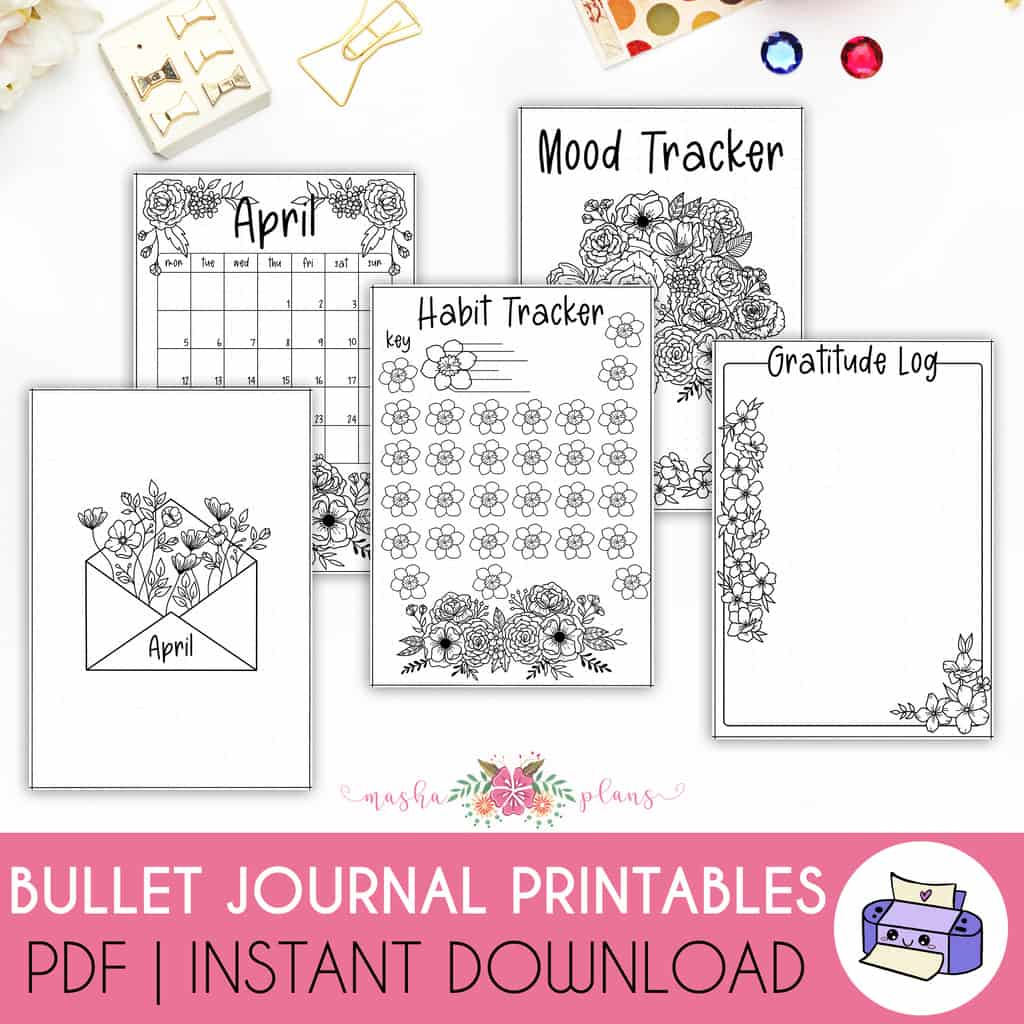 Printable April 2021 Bullet Journal Setup | Masha Plans