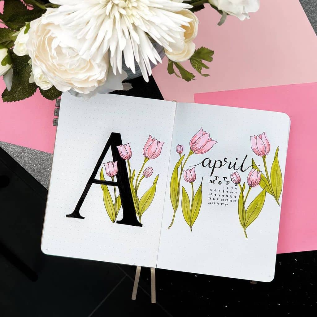 April Bullet Journal Theme Ideas, cover page by @dejanapasic | Masha Plans