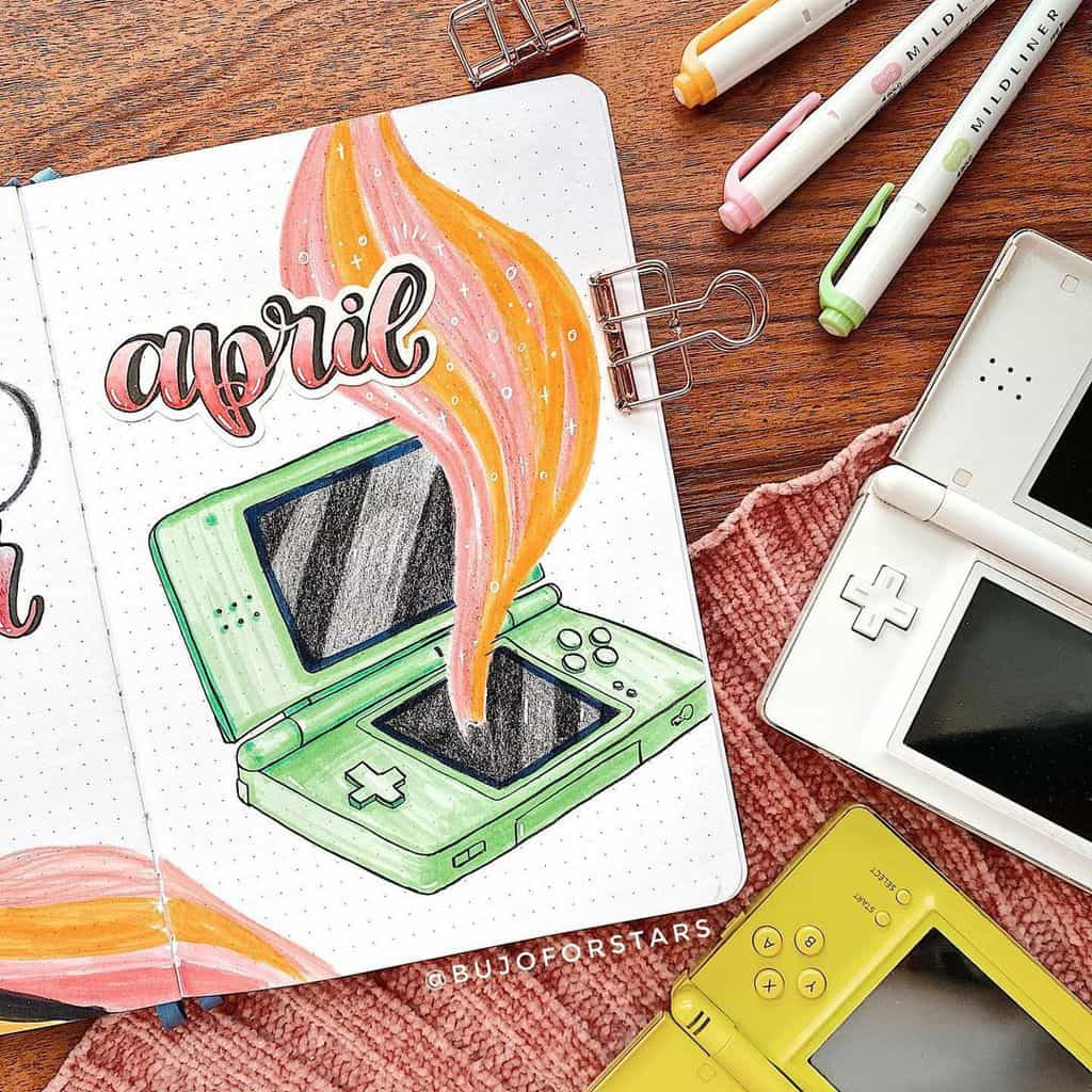 April Bullet Journal Theme Ideas, cover page by @bujoforstars | Masha Plans