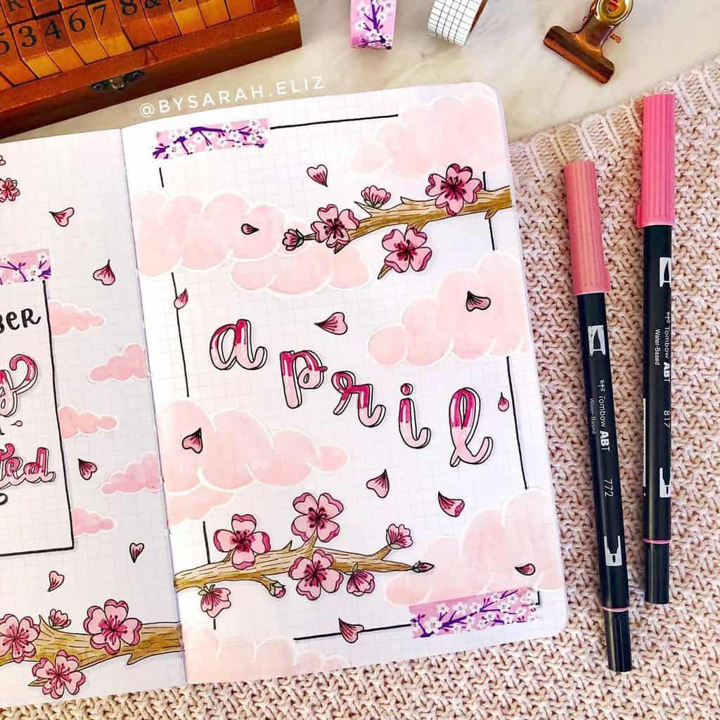 April Bullet Journal Theme Ideas, cover page by @bysarah.eliz | Masha Plans