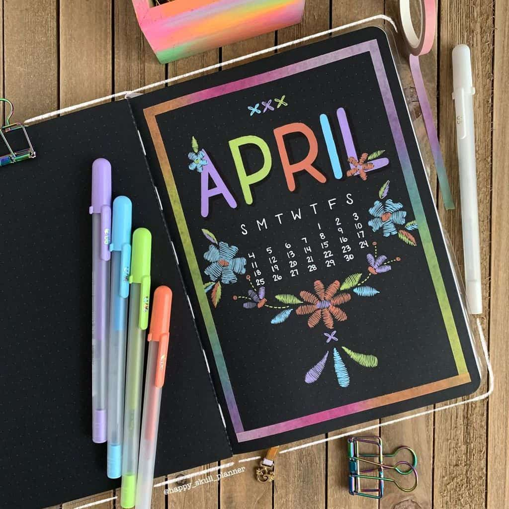 April Bullet Journal Theme Ideas, cover page by @happy_skull_planner | Masha Plans