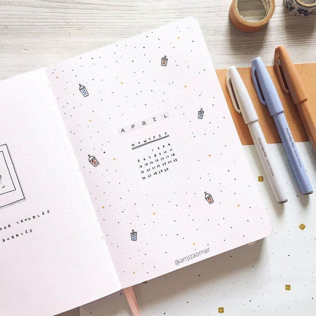 April Bullet Journal Theme Ideas, cover page by @amizaomar | Masha Plans