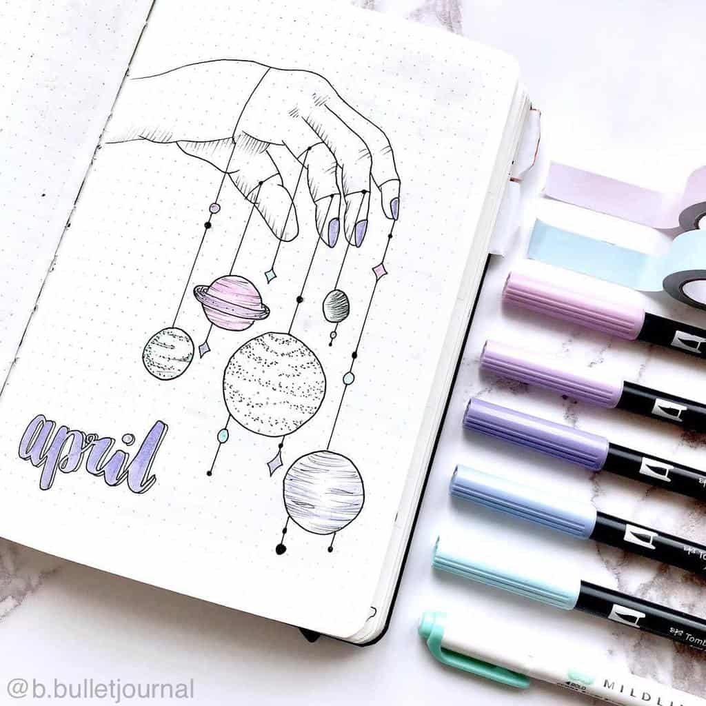 April Bullet Journal Theme Ideas, cover page by @b.bulletjournal | Masha Plans