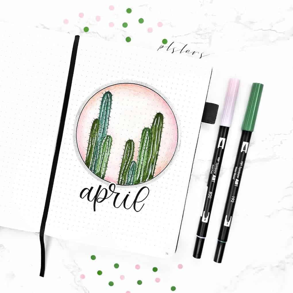 April Bullet Journal Theme Ideas, cover page by @plslars | Masha Plans