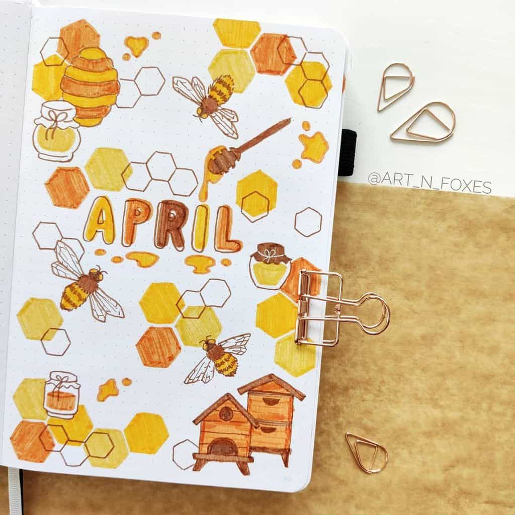 April Bullet Journal Theme Ideas, cover page by @art_n_foxes | Masha Plans