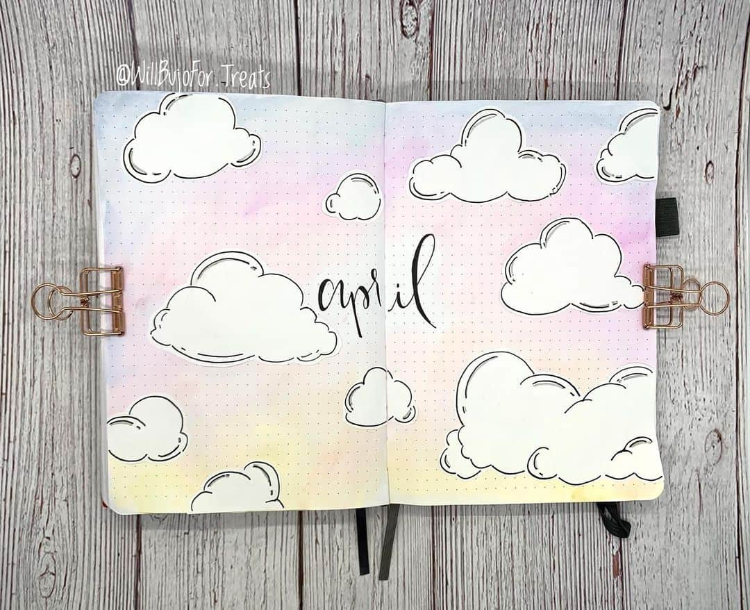 April Bullet Journal Theme Ideas, cover by @willbujofor.treats | Masha Plans