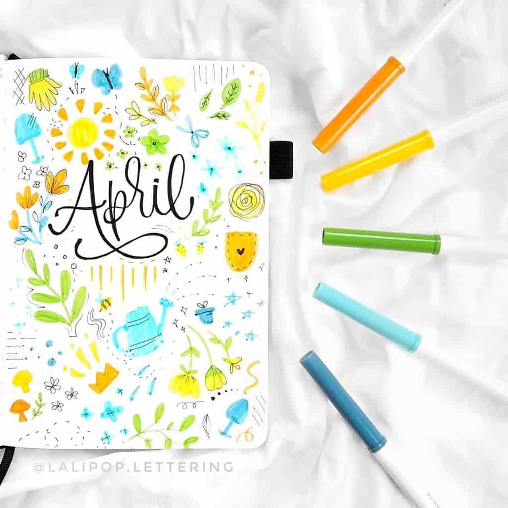 April Bullet Journal Theme Ideas, cover page by @lalipop.lettering | Masha Plans