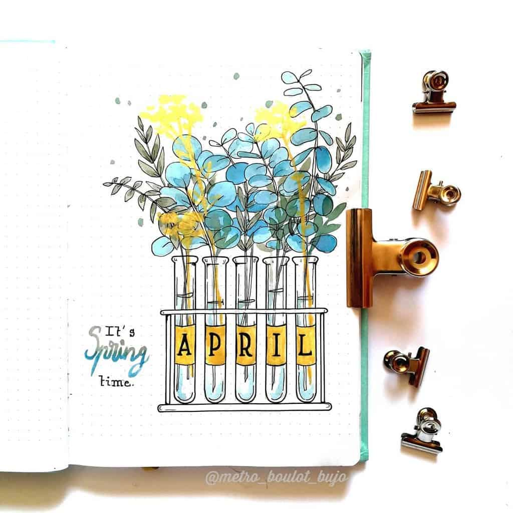 April Bullet Journal Theme Ideas, cover page by @metro_boulot_bujo | Masha Plans
