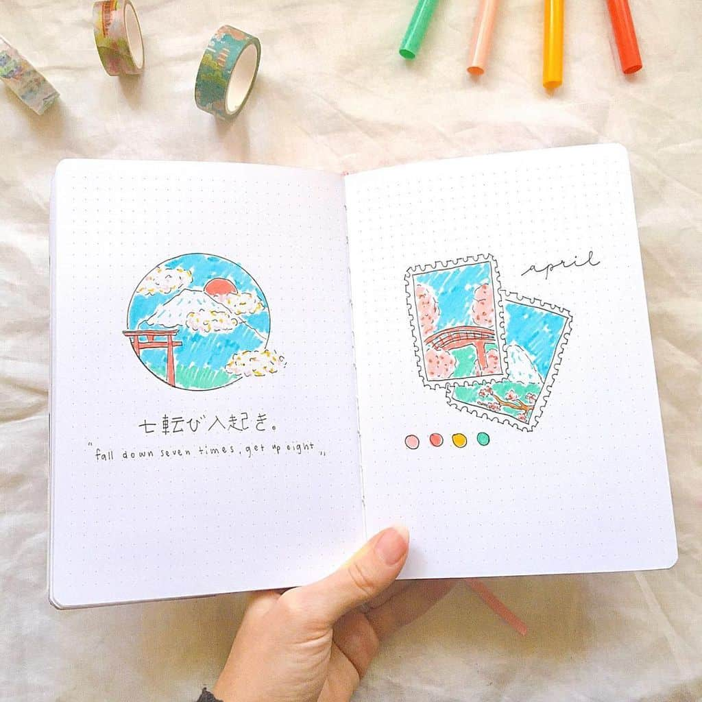 April Bullet Journal Theme Ideas, cover page by @blossom_bujo | Masha Plans