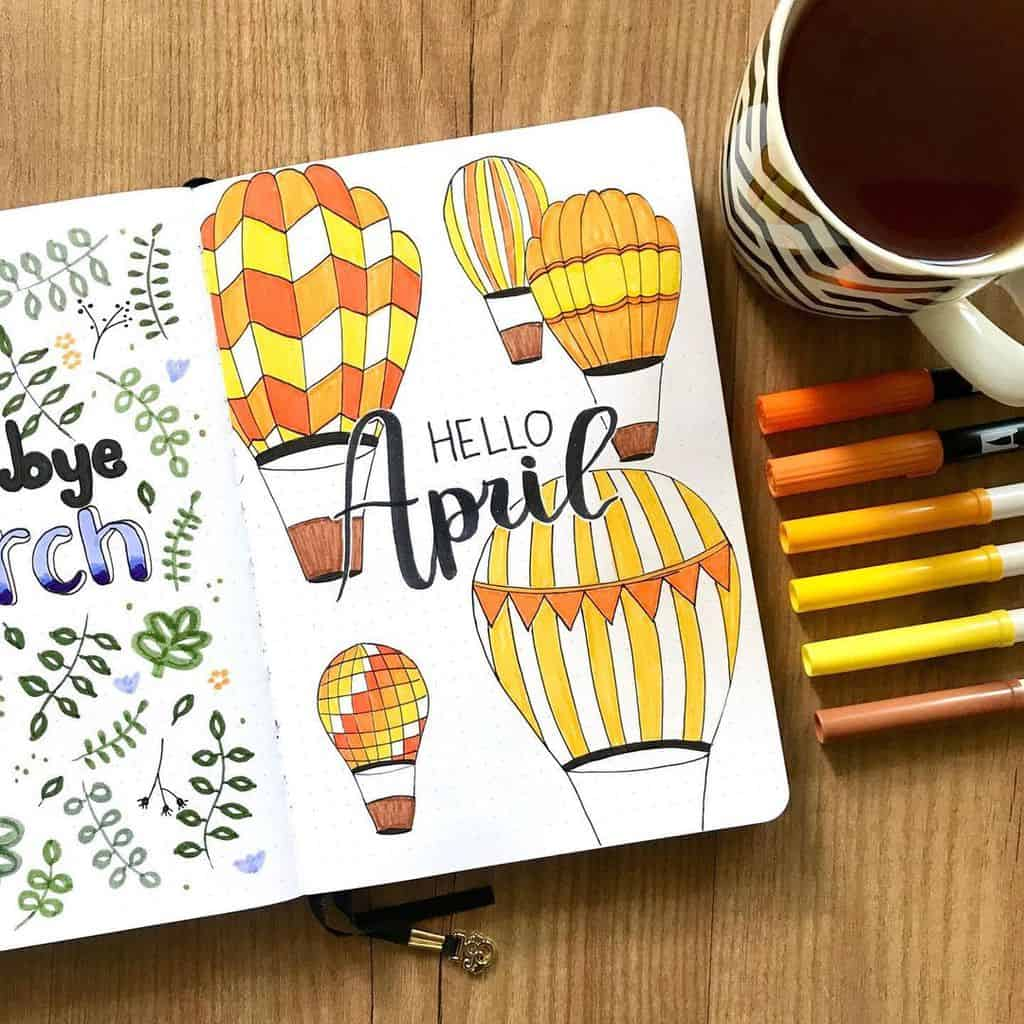 April Bullet Journal Theme Ideas, cover page by @fenkesjournal | Masha Plans