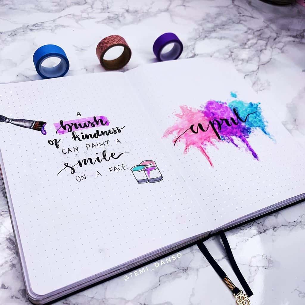 April Bullet Journal Theme Ideas, cover page by @temi.journals | Masha Plans