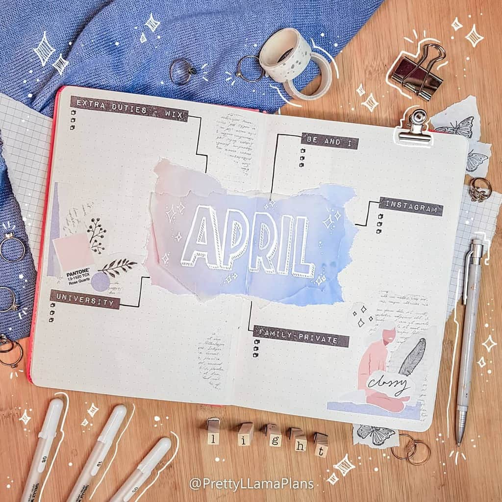 April Bullet Journal Theme Ideas, cover page by @prettyllamaplans | Masha Plans