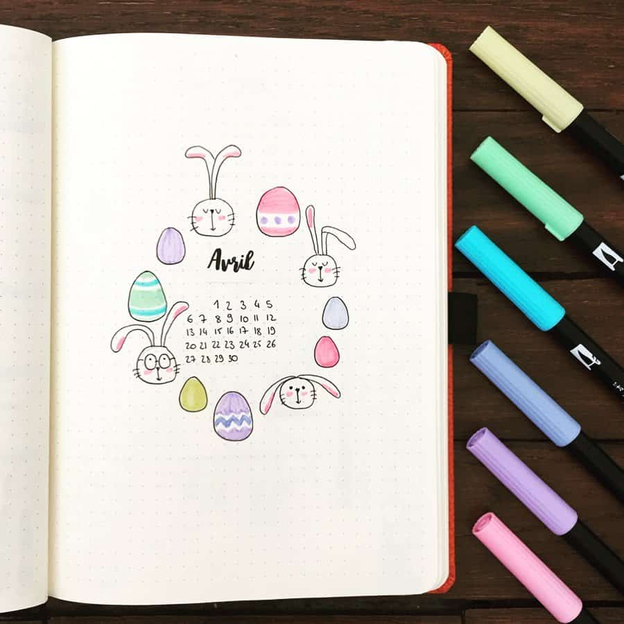 April Bullet Journal Theme Ideas, cover page by @bubu_en_herbe | Masha Plans