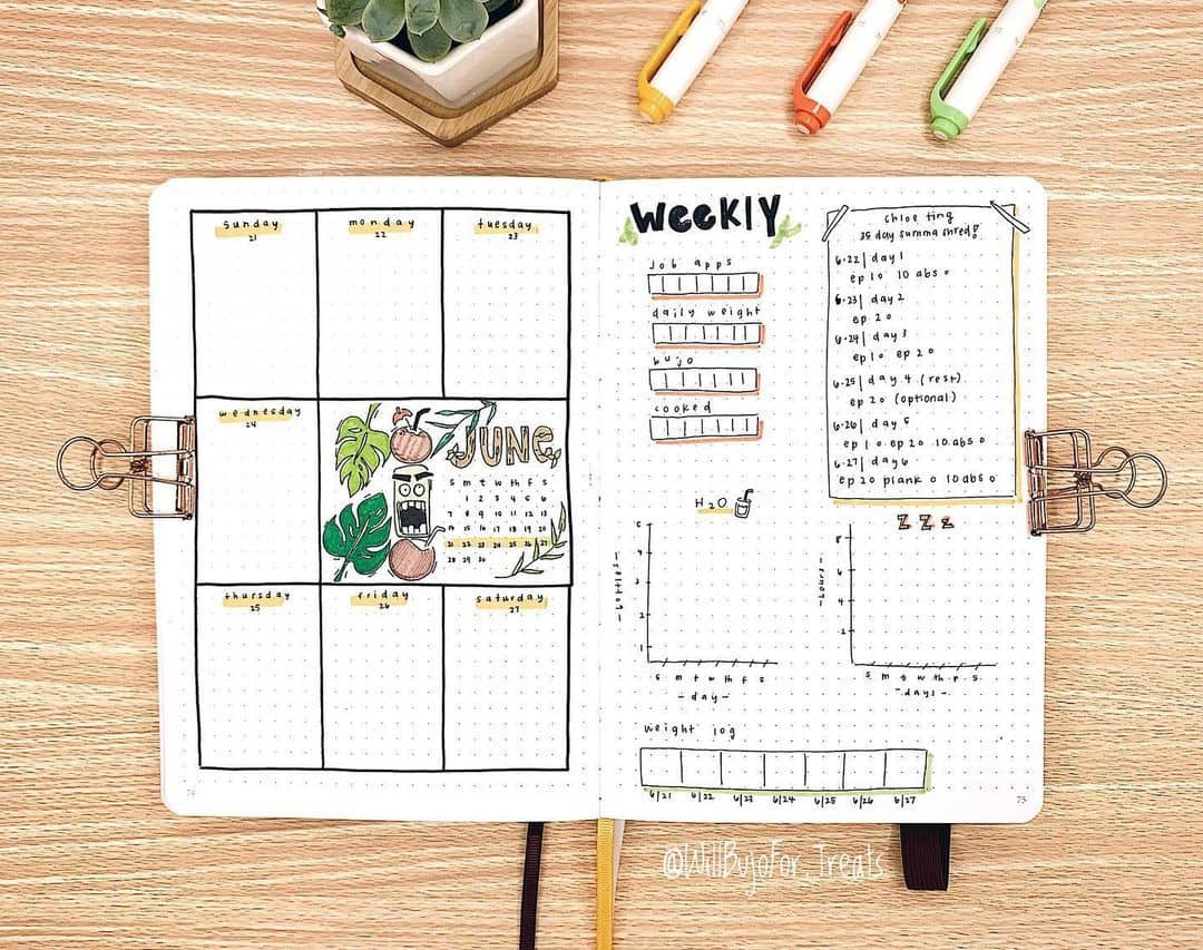 Fantastic Summer Bullet Journal Page Ideas, weekly spread by @willbujofor.treats | Masha Plans