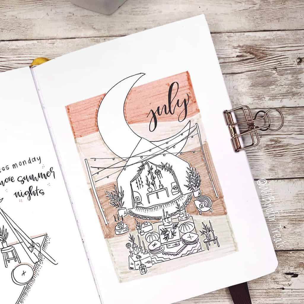 Fantastic Summer Bullet Journal Page Ideas, cover page by @willbujofor.treats | Masha Plans