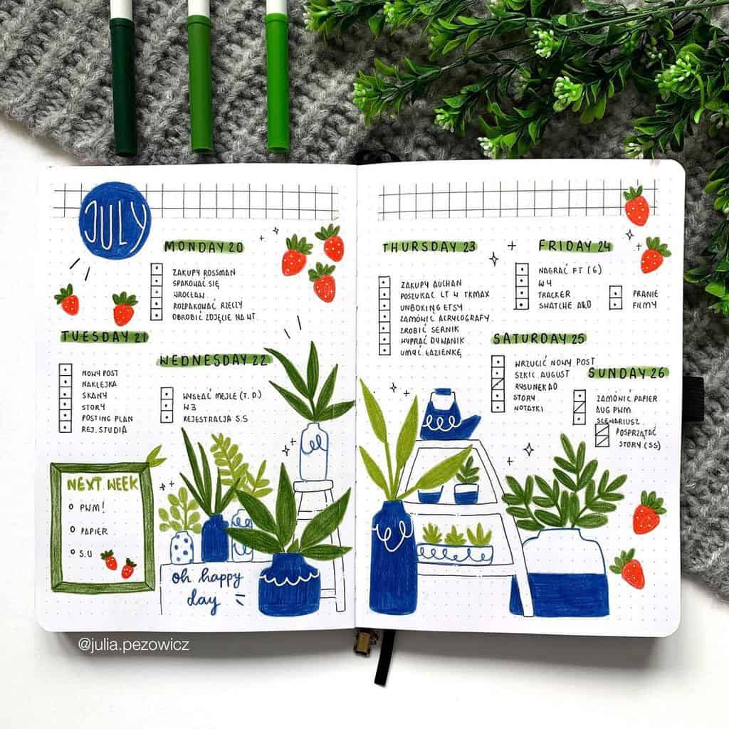 Fantastic Summer Bullet Journal Page Ideas, weekly spread by @julia.pezowicz | Masha Plans