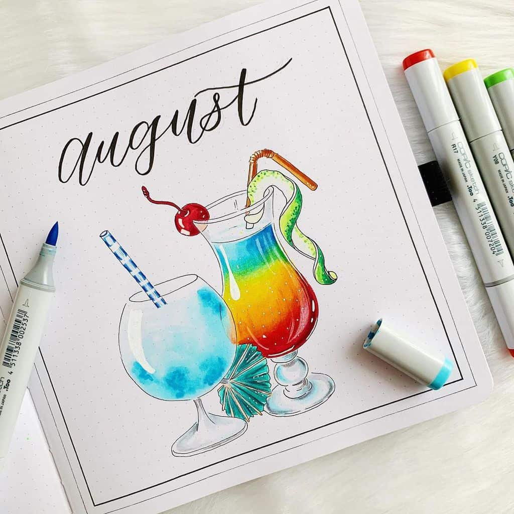 Fantastic Summer Bullet Journal Page Ideas, cover page by @journalwithkate | Masha Plans