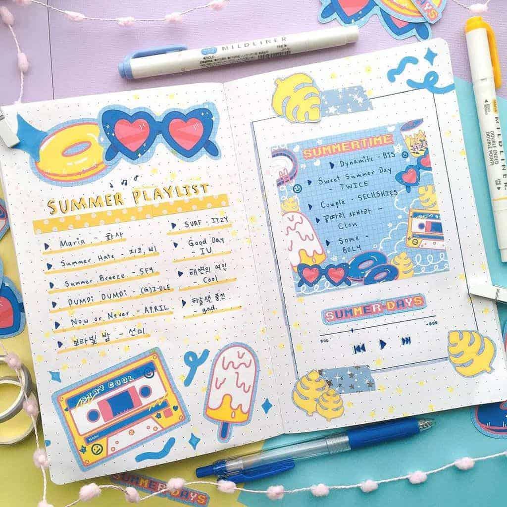 Fantastic Summer Bullet Journal Page Ideas, summer playlist by @mamucatlife | Masha Plans