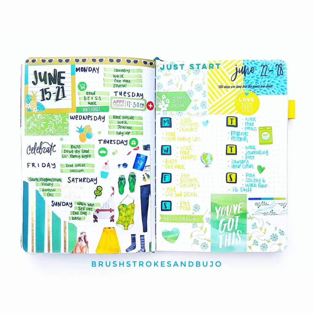 Fantastic Summer Bullet Journal Page Ideas, weekly spread by @brushstrokesandbujo | Masha Plans
