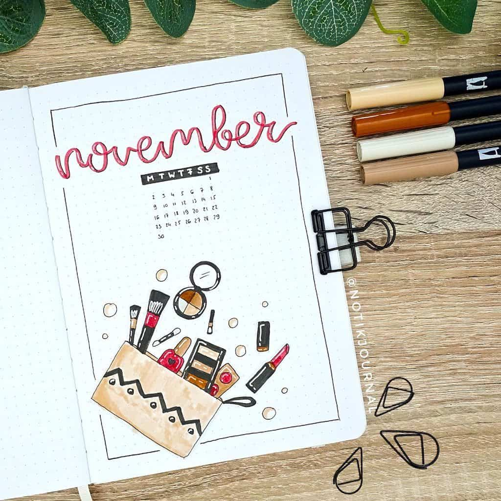 Makeup Bullet Journal Theme Inspirations, cover page by @notikjournal | Masha Plans