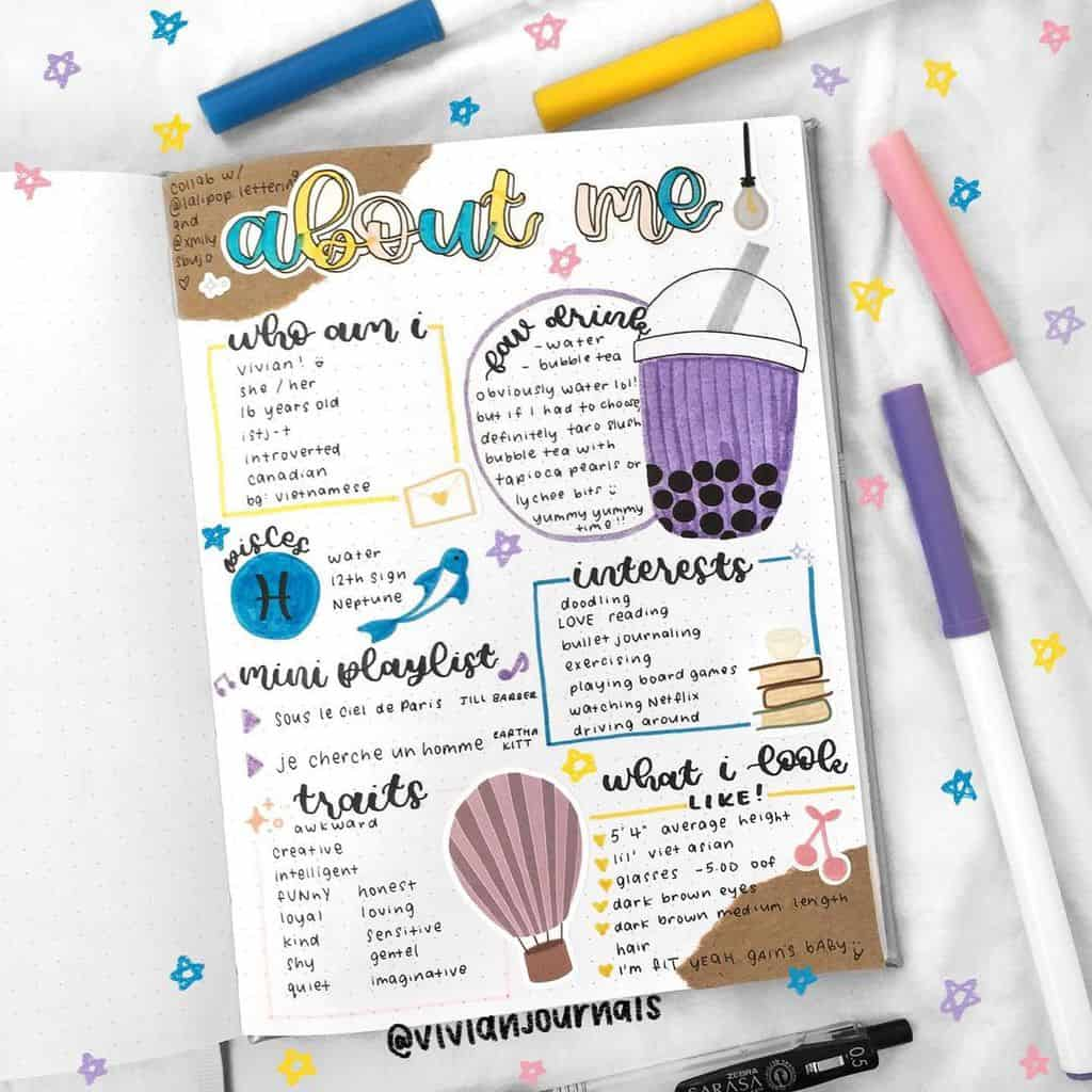 About Me Page by @vivianjournals | Masha Plans