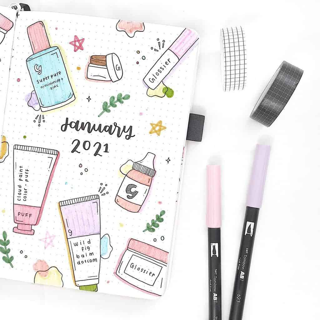 Makeup Bullet Journal Theme Inspirations, cover page by @laaibajournals | Masha Plans