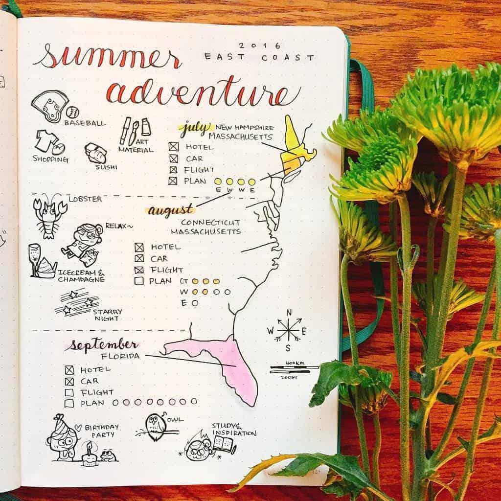 Fantastic Summer Bullet Journal Page Ideas, summer adventures spread by @honey.owl | Masha Plans