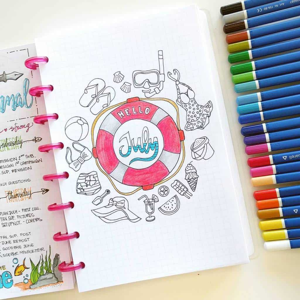 Fantastic Summer Bullet Journal Page Ideas, cover page by @nicoles.journal | Masha Plans