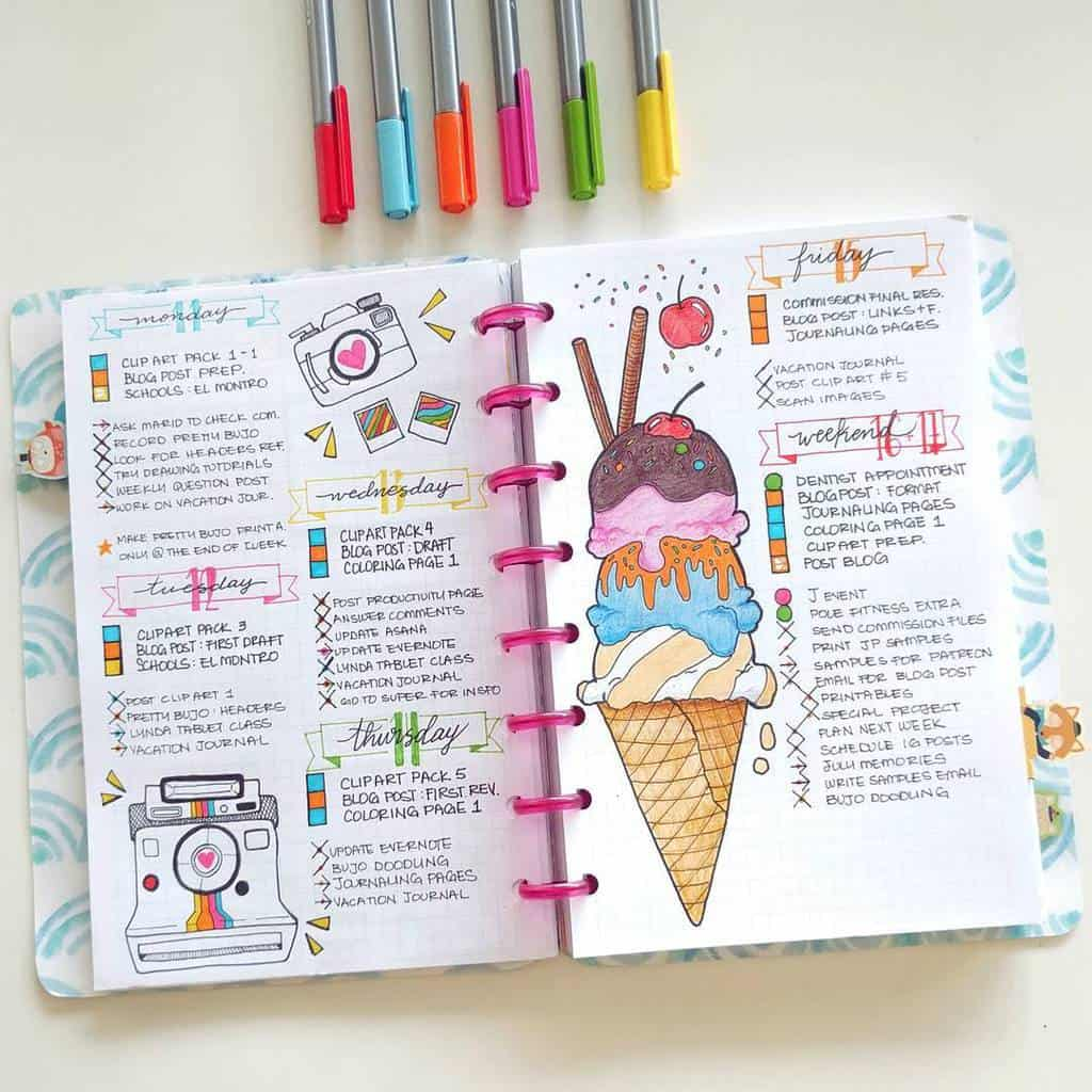 Fantastic Summer Bullet Journal Page Ideas, weekly spread by @nicoles.journal | Masha Plans