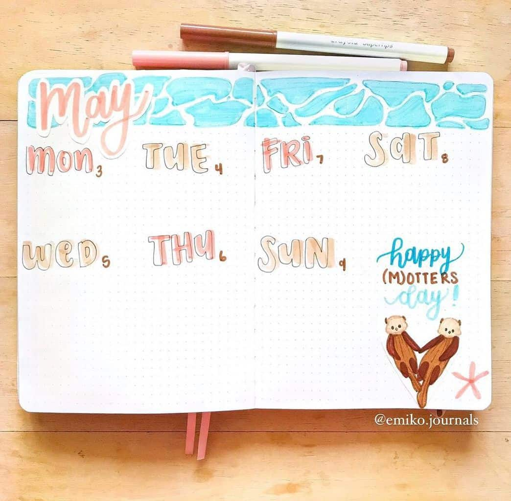 Fantastic Summer Bullet Journal Page Ideas, weekly spread by @emiko.journals | Masha Plans