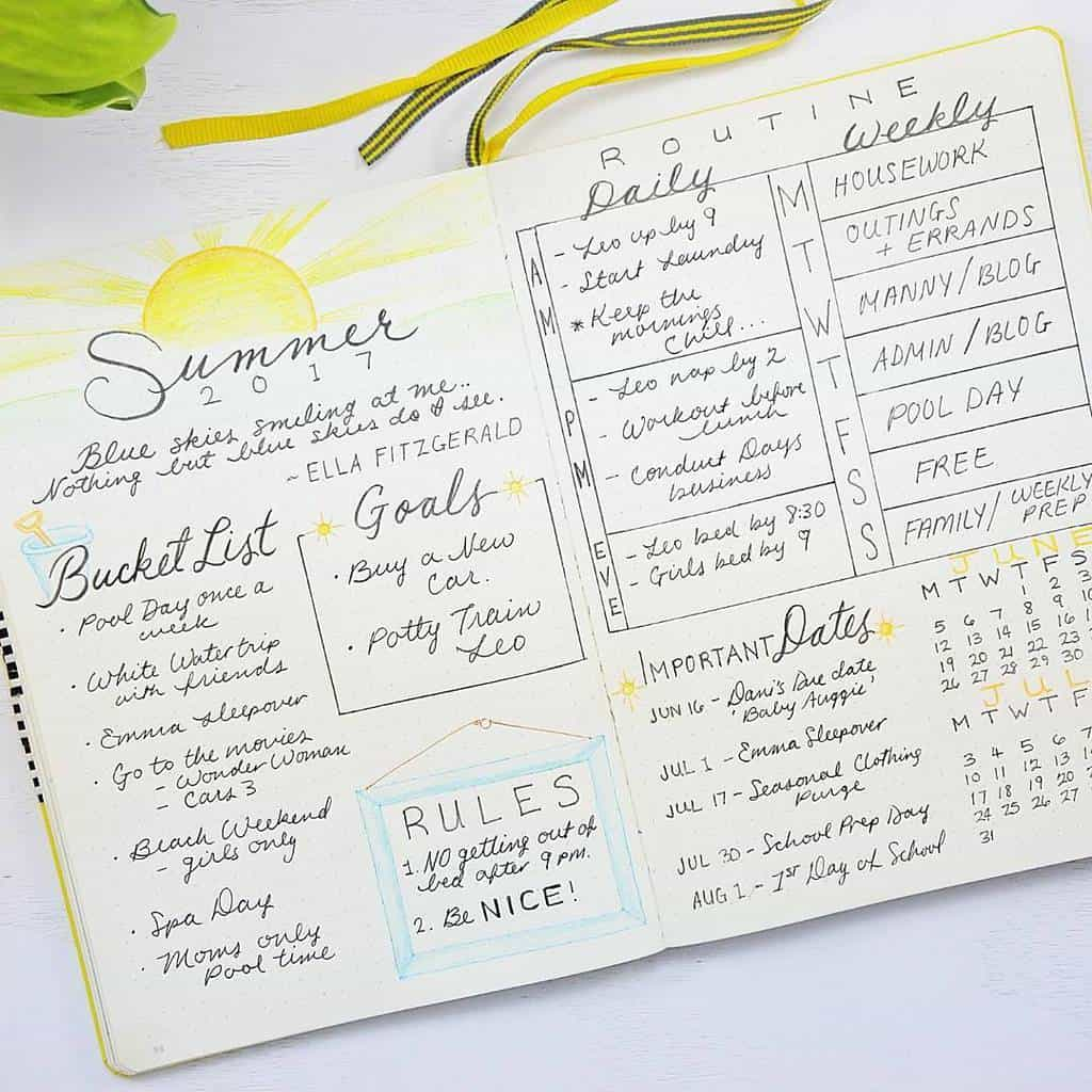 Fantastic Summer Bullet Journal Page Ideas, summer plans page by @sheenaofthejournal | Masha Plans
