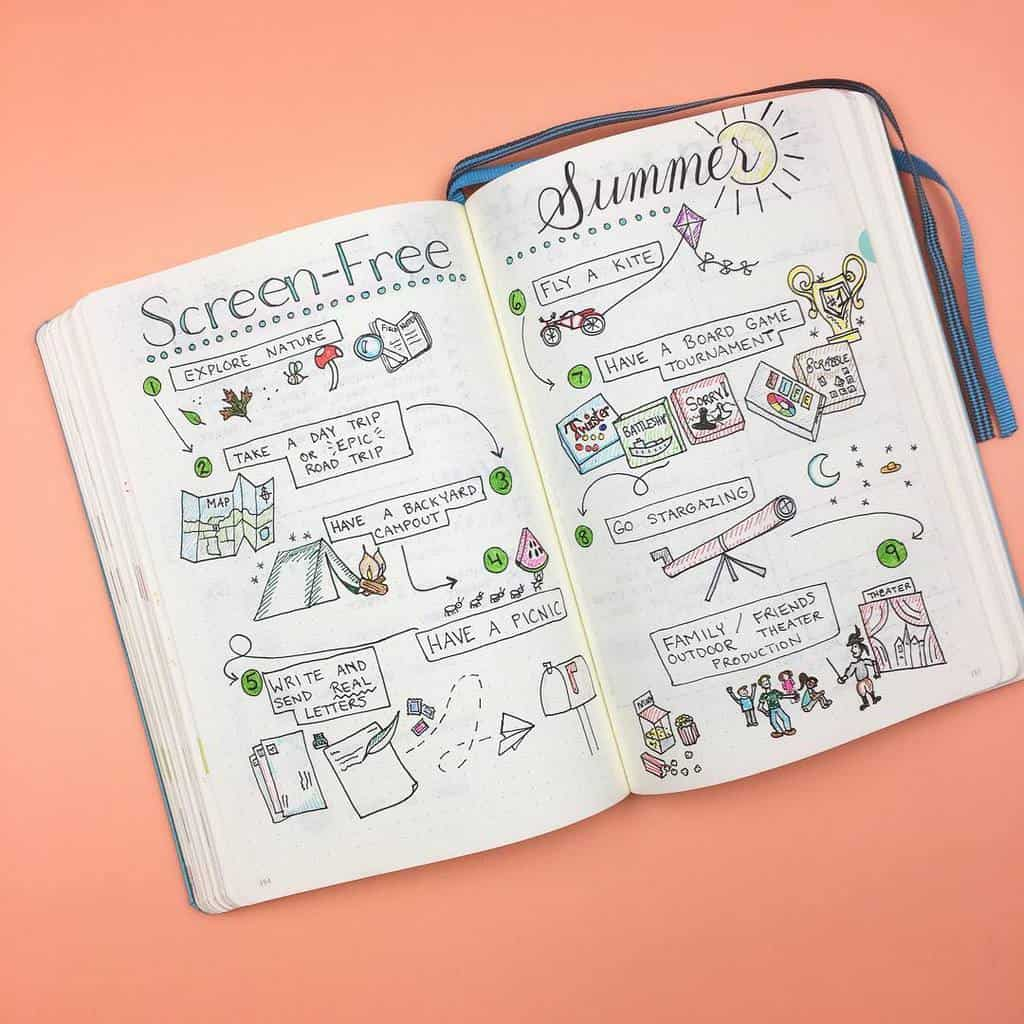 Fantastic Summer Bullet Journal Page Ideas, summer activities by @pageflutter | Masha Plans