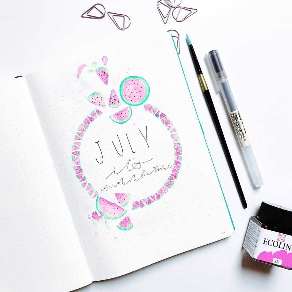 Fantastic Summer Bullet Journal Page Ideas, cover page by @rozmakesplans | Masha Plans