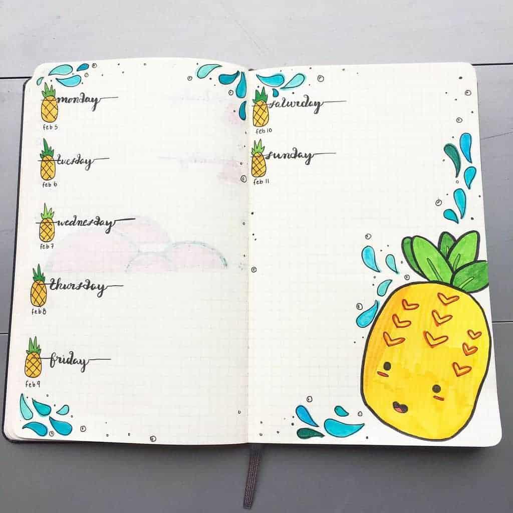 Fantastic Summer Bullet Journal Page Ideas, weekly spread by @jellyfish.breaths | Masha Plans