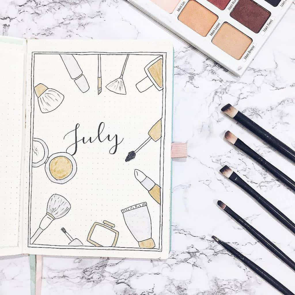 Makeup Bullet Journal Theme Inspirations, cover page by @amizaomar | Masha Plans
