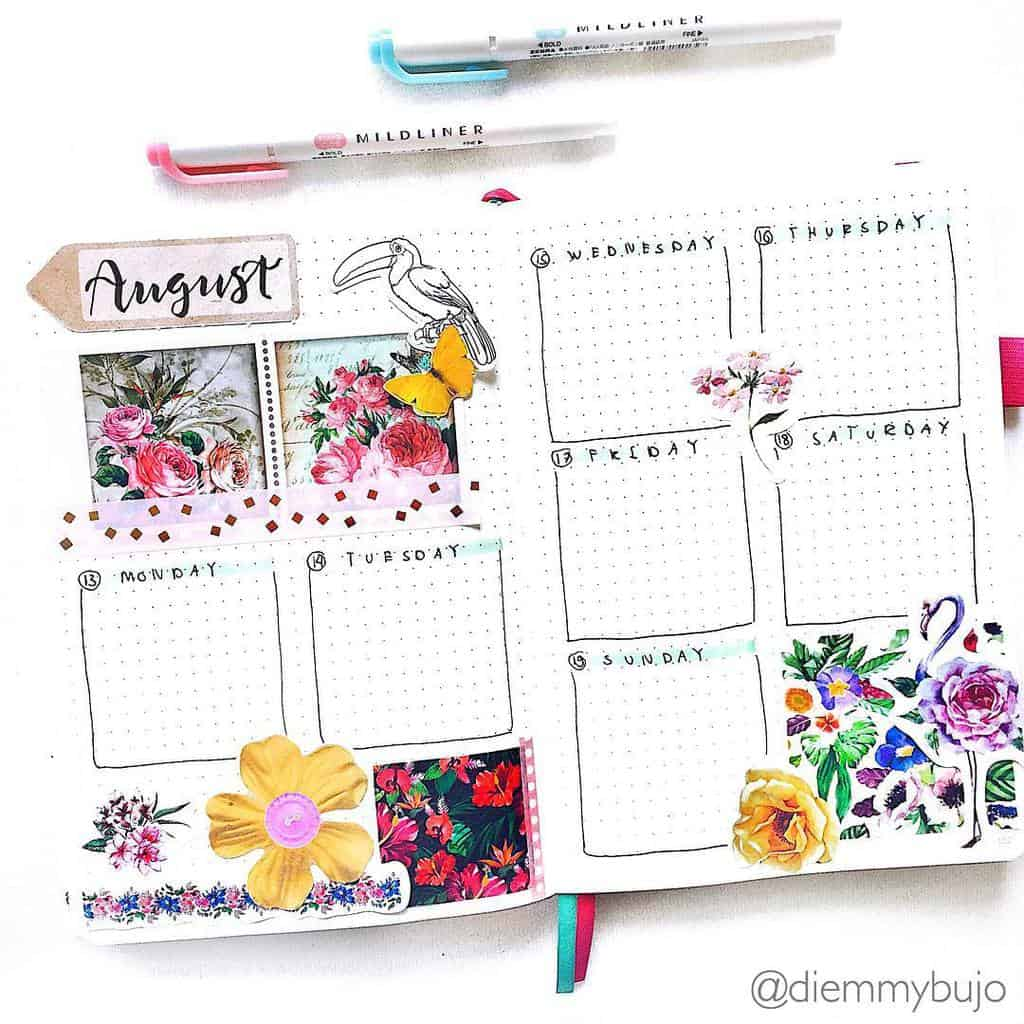 Fantastic Summer Bullet Journal Page Ideas, weekly spread by @diemmybujo | Masha Plans