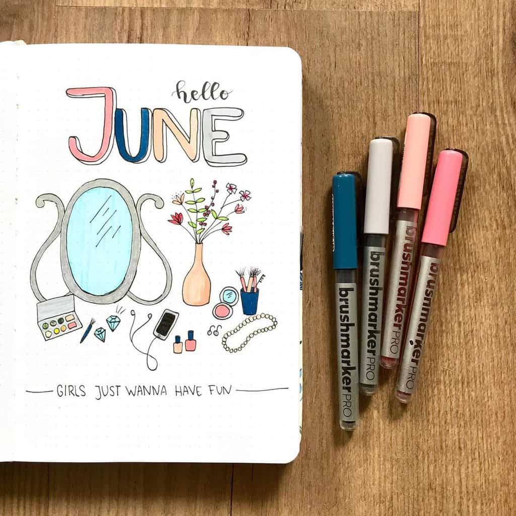Makeup Bullet Journal Theme Inspirations, cover page by @fenkesjournal | Masha Plans