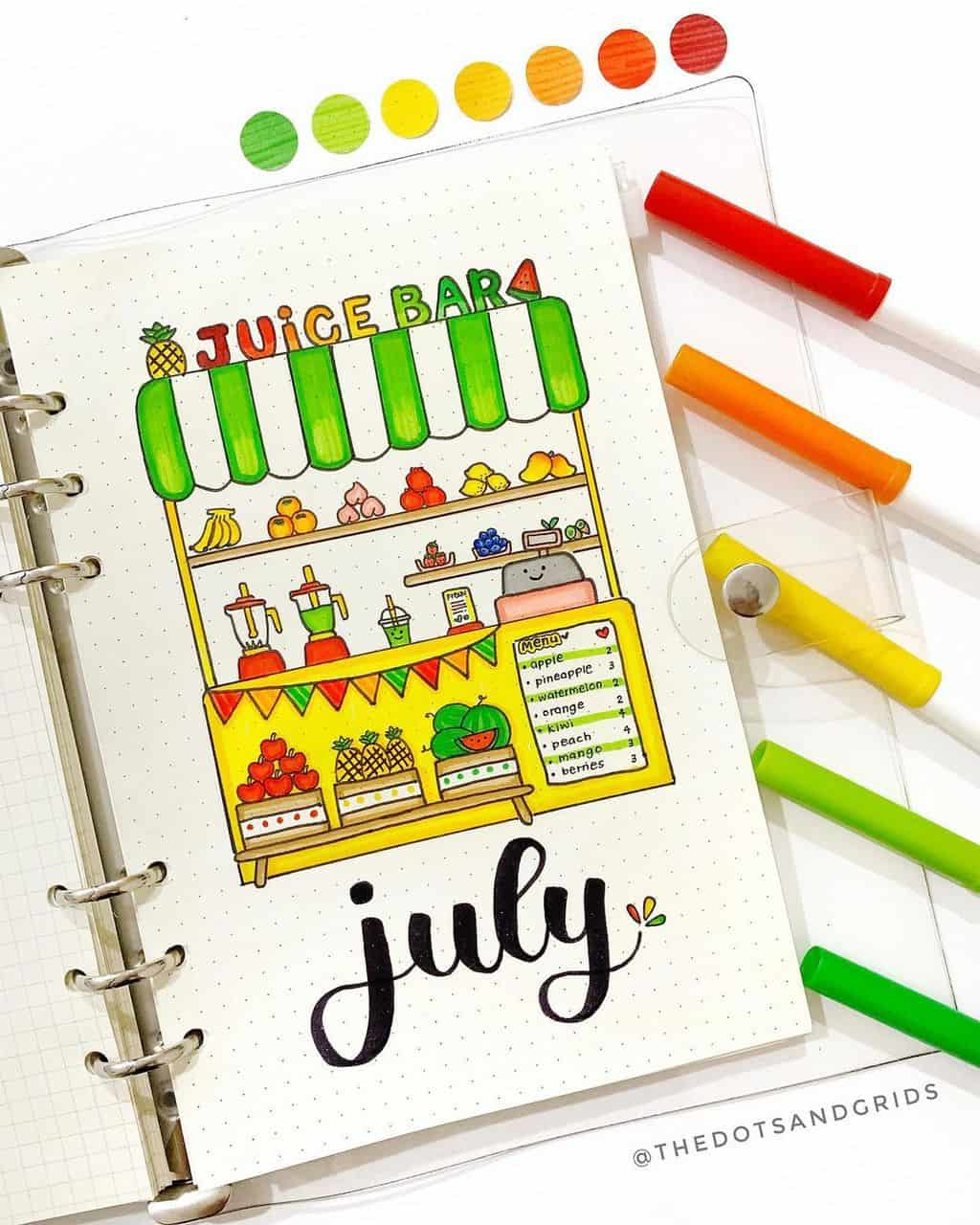 Fantastic Summer Bullet Journal Page Ideas, cover page by @thedotsandgrids | Masha Plans