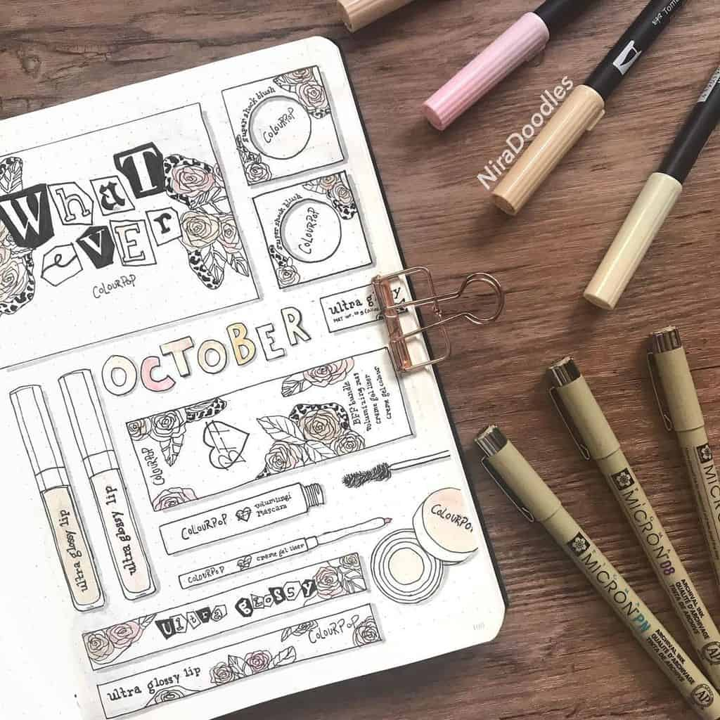 Makeup Bullet Journal Theme Inspirations, cover page by @niradoodles | Masha Plans