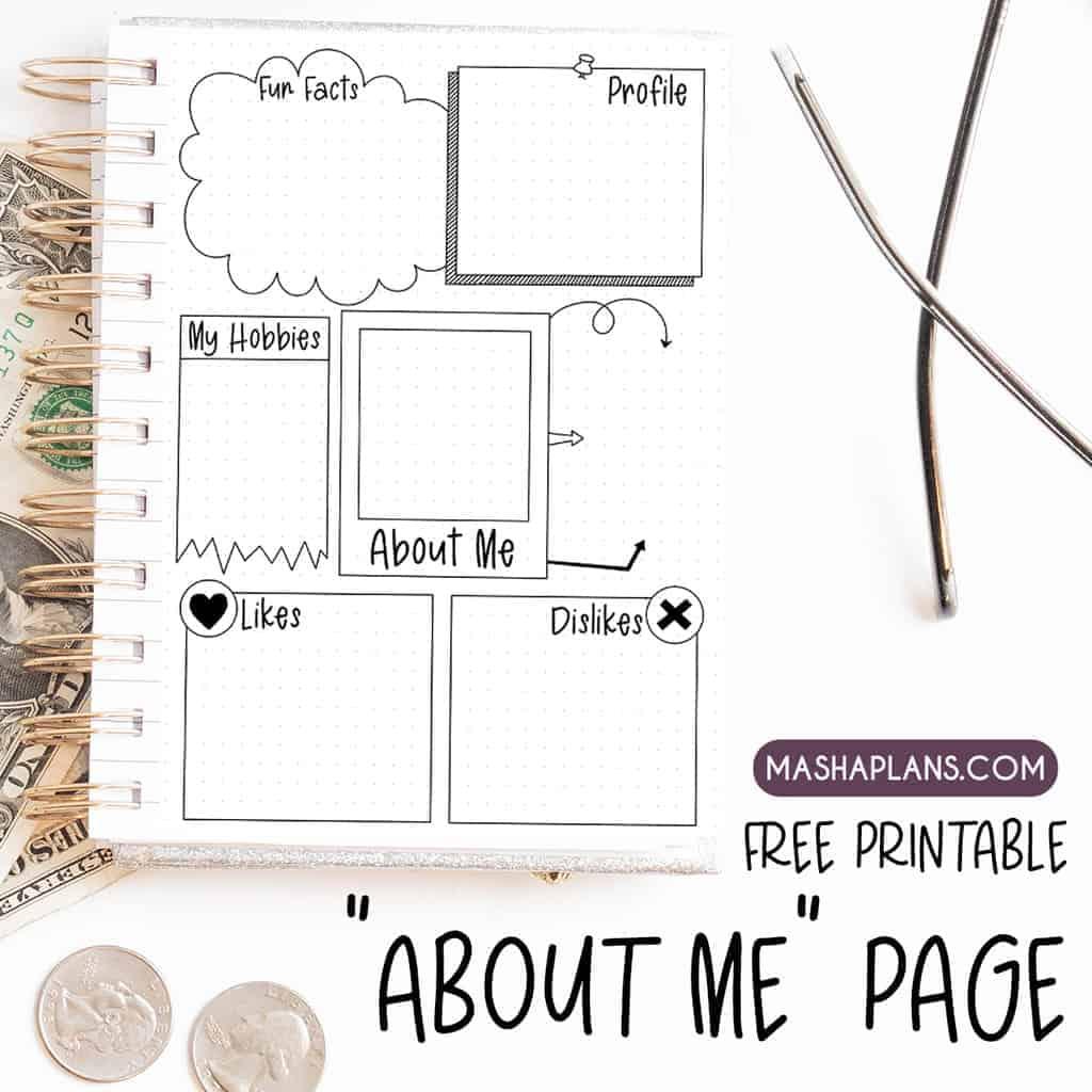 Free Printable: About Me Page | Masha Plans