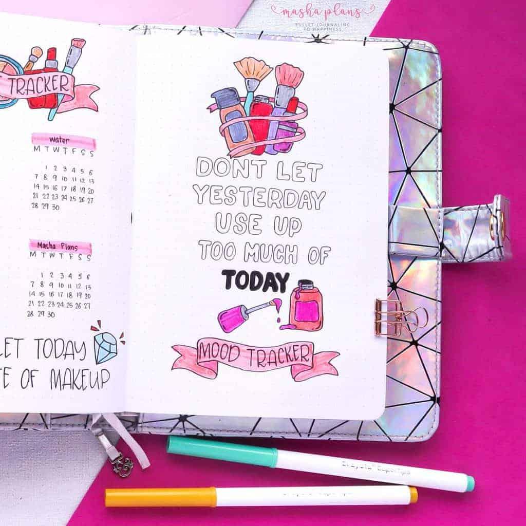 Makeup Bullet Journal Theme Inspirations, mood tracker | Masha Plans