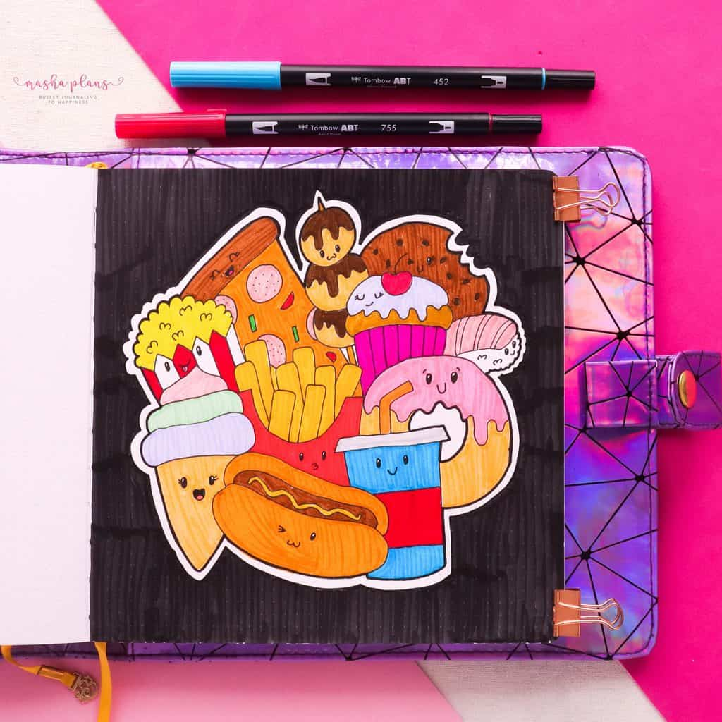 How To: Creating A Coloring Page With Kawaii Food Doodles (in color) | Masha Plans