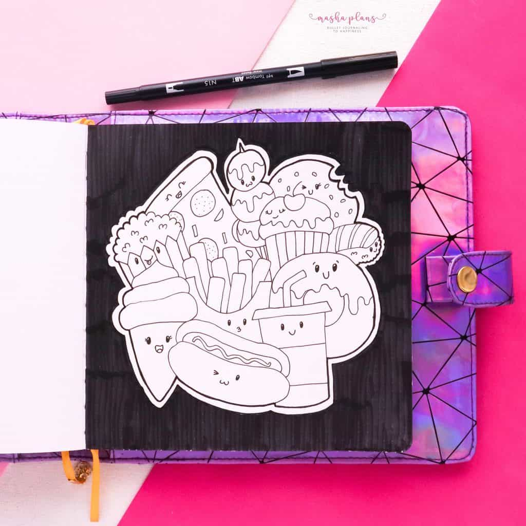 How To: Creating A Coloring Page With Kawaii Food Doodles (black and white) | Masha Plans