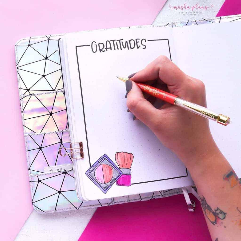 Makeup Bullet Journal Theme Inspirations, gratitude log | Masha Plans