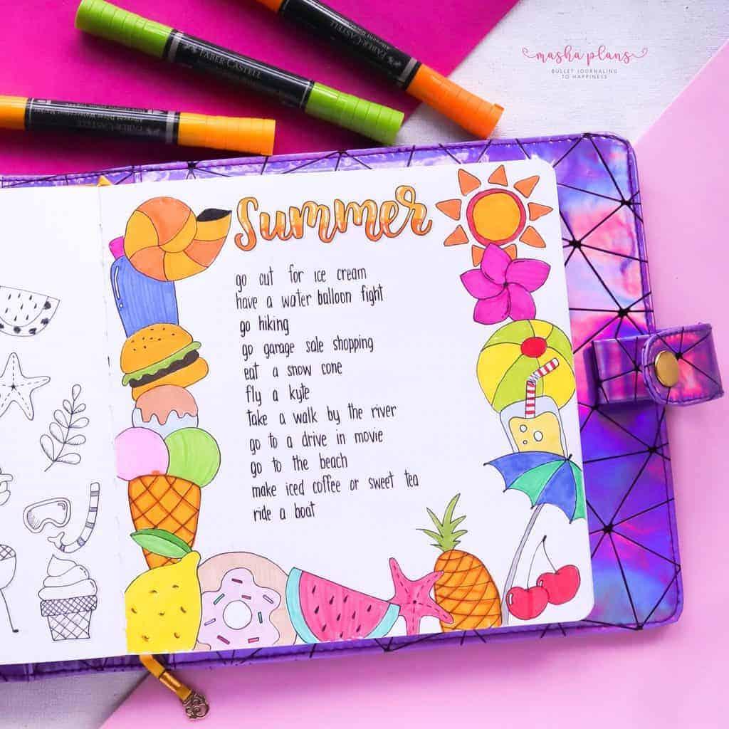 Fantastic Summer Bullet Journal Page Ideas, summer bucket list | Masha Plans