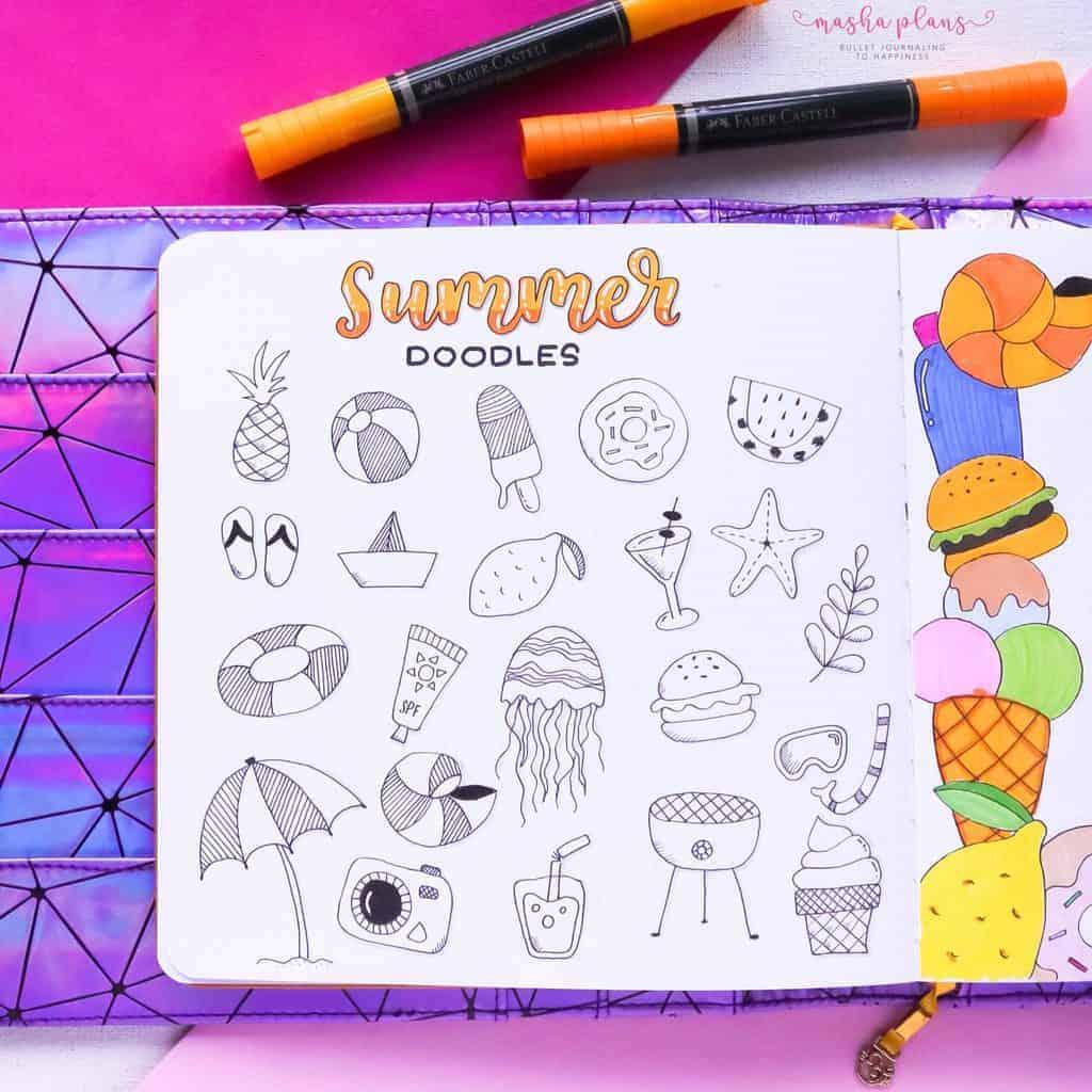 Fantastic Summer Bullet Journal Page Ideas, summer doodles | Masha Plans