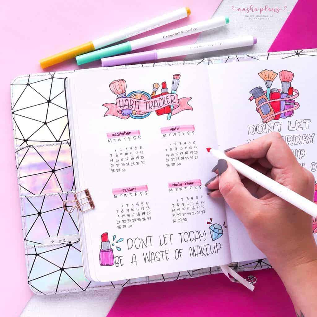 Makeup Bullet Journal Theme Inspirations, habit tracker | Masha Plans