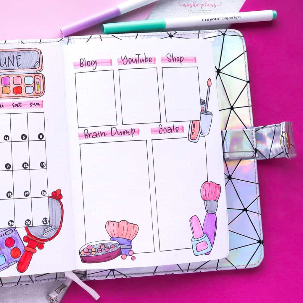 Makeup Bullet Journal Theme Inspirations, monthly to-do list | Masha Plans