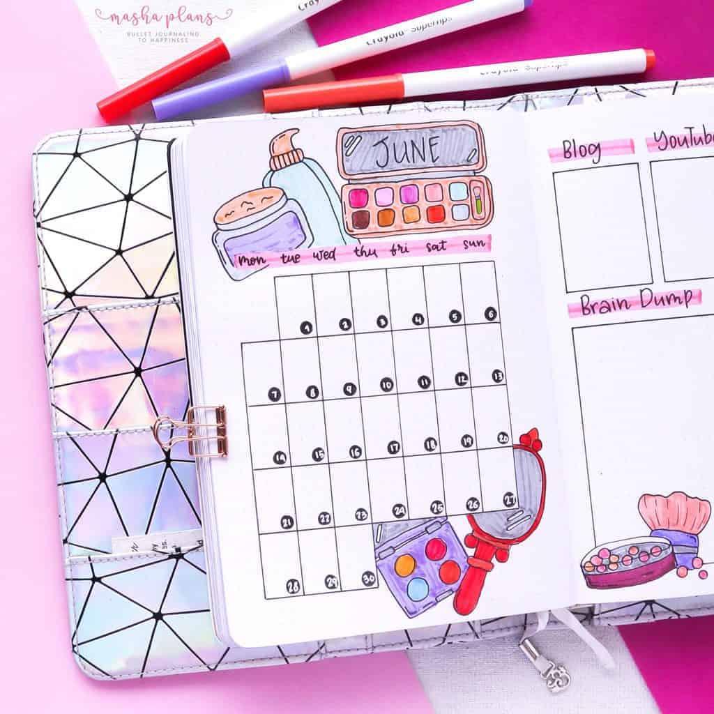 Makeup Bullet Journal Theme Inspirations, monthly log | Masha Plans